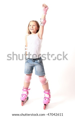 rollerblade girl isolated. Happy childhood. Driving on roller skates. Smiling girl on the rollers on white background. - stock photo