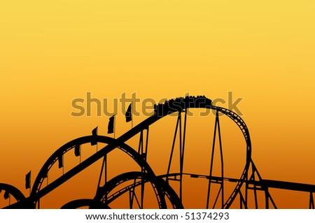 Rollercoaster track on fun fair - stock photo