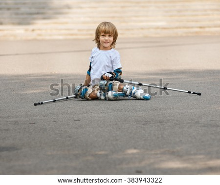 Rolling and falling. portrait boy - stock photo