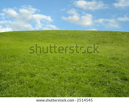 Rolling green hill against blue sky.