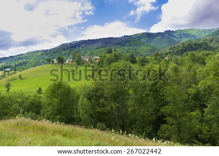 Rolling hills in the Pyrenees in Boussenac - stock photo