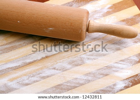 Rolling Pin, Flour and  wooden board, background