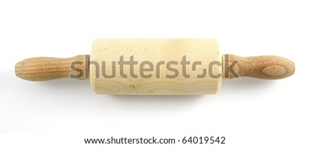 Rolling pin on white background. - stock photo