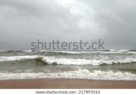 Rolling sea waves in Calangute beach, Goa - stock photo