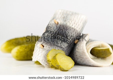rollmops, rolled pickled herring fillets