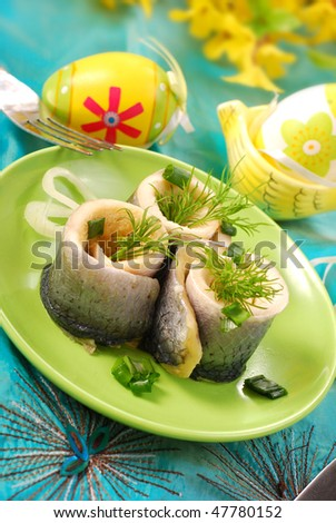 rollmops with gherkins  for easter