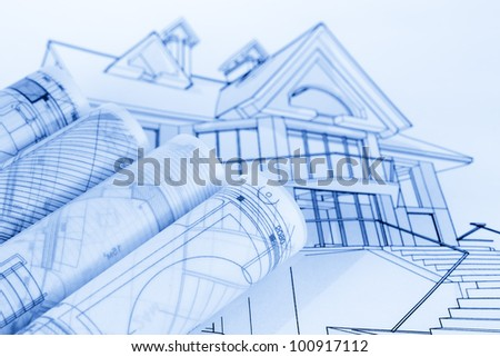 rolls of architecture blueprints house plans