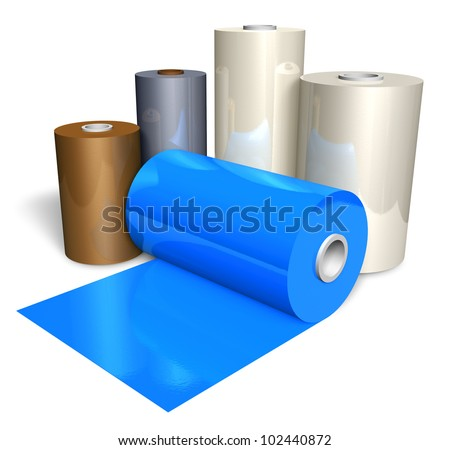 Rolls of color plastic tape isolated on white background - stock photo