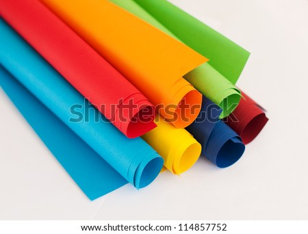 Rolls of colored paper - stock photo