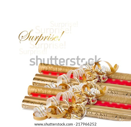 Rolls of colored wrapping paper with streamer for gifts isolated on white background - stock photo