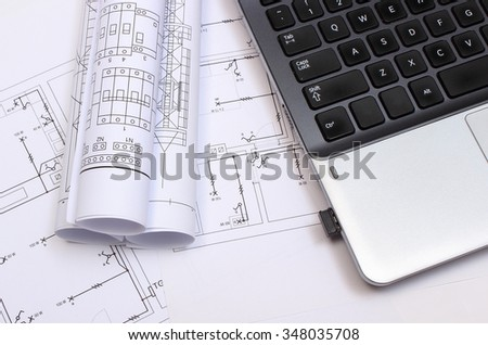 Rolls Electrical Diagrams Construction Drawings House Stock Photo ...