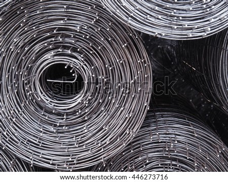 Rolls of iron mesh,	Iron mesh to strengthen a construction when cement is poured. - stock photo