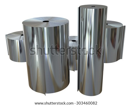 Rolls of metal foil isolated on white - stock photo