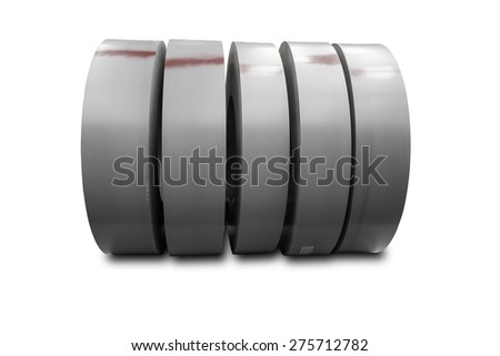 Rolls of metal sheet on white with clipping path - stock photo