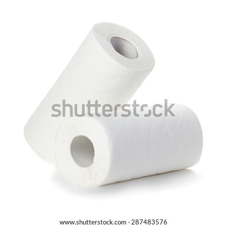 Rolls of paper towels, isolated on white background - stock photo