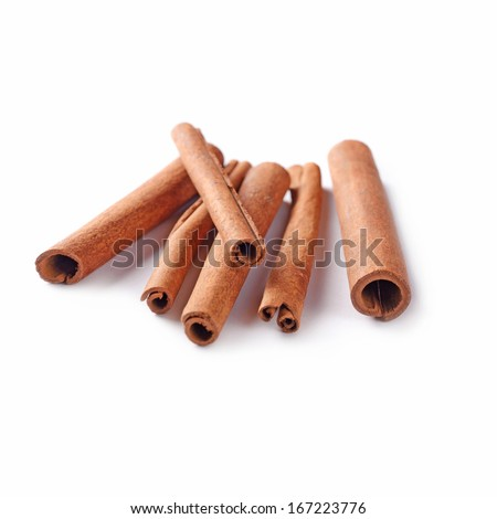 Rolls of spicy stick cinnamon, an aromatic tree bark from trees in the genus Cinnamomum, dried and used as a spice in cooking