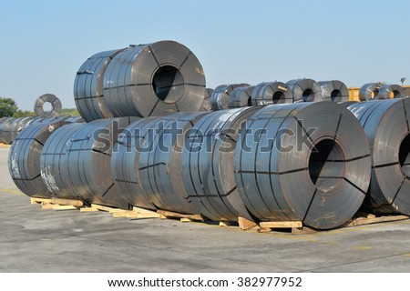 rolls of steel sheet - stock photo