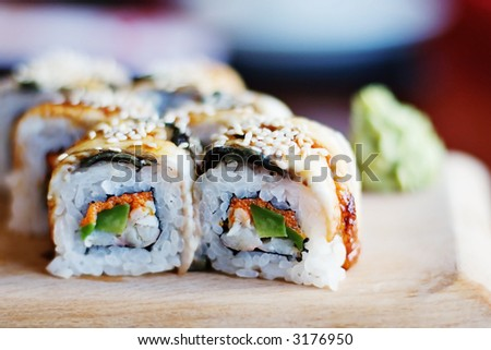 rolls of sushi - stock photo