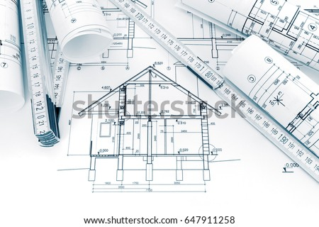 Rolls technical drawings plans blueprints house stock photo royalty rolls of technical drawings with plans and blueprints for house construction malvernweather Images