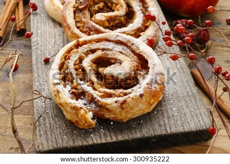 Rolls with apple and cinnamon - stock photo