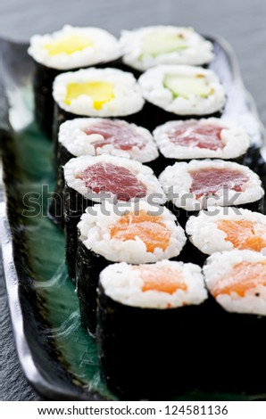 rolls with salmon and tuna - stock photo