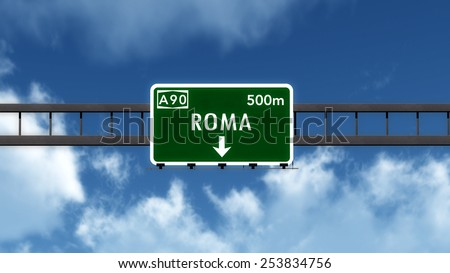 Roma Italy Highway Road Sign 3D Illustration