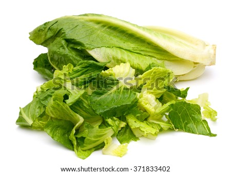 romaine lettuce chopped isolated on white  - stock photo
