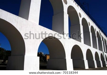 Roman acqueduct in Rio de Janeiro - stock photo