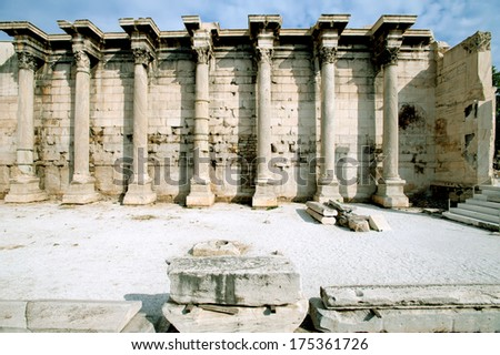 Roman Agora in Athens. Ancient Hadrian's library - stock photo