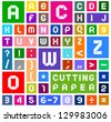 Roman alphabet and Arabic numerals of paper, cut out, white on multicolor background - stock photo