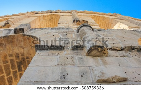 Roman amphitheater of Thysdrus in El Djem town. Tunisia. Northern Africa