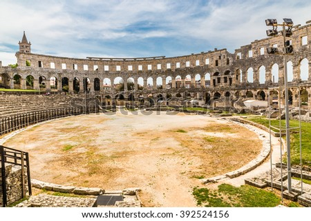 Roman Amphitheatre Pula Arena During Summer Day - Pula, Istria, Croatia, Europe - stock photo