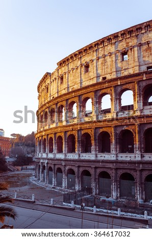 Roman amphitheatres in Rome on January 5, 2015. circular or oval open-air venues with raised seating built by the Ancient Romans. January 5 Rome, ITALY