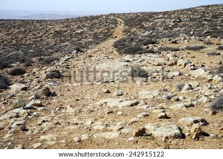 Roman ancient road near Amasa, Israel                                - stock photo