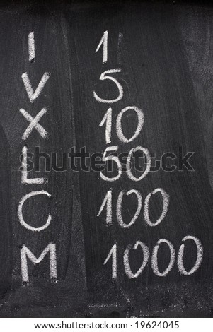 Roman and corresponding Arabic numerals handwritten with white chalk on a blackboard - stock photo