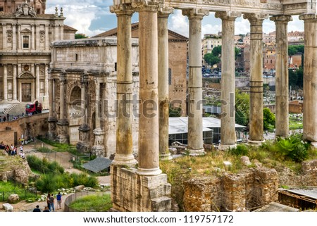 Roman antiquity: Roman Forum in Rome, Italy - stock photo