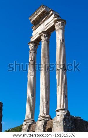 Roman antiquity: View of the Roman Forum in Rome, Italy  - stock photo