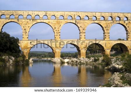 Roman aqueduct at Pont du Gard, France - stock photo