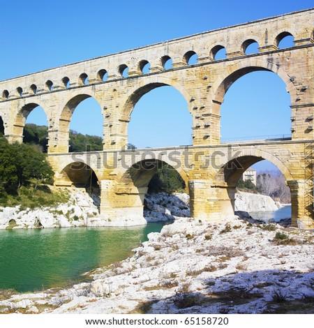Roman aqueduct, Pont du Gard, Provence, France - stock photo