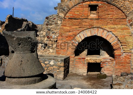 Roman bakery in Pompeii - stock photo