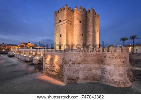 Roman Bridge and Cordoba Skyline in the Evening, Andalusia, Spain