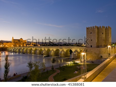 Roman bridge with Calahorra tower at night, Cordoba, Andalusia, Spain - stock photo