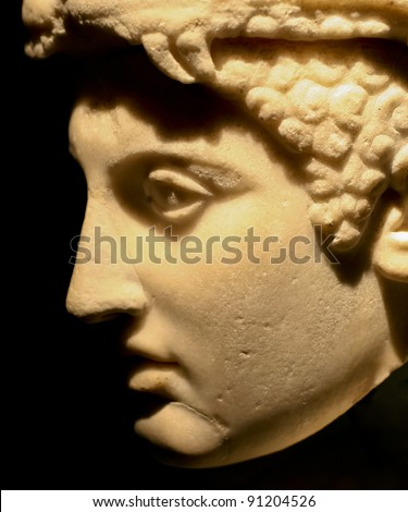 Roman Bust - Excavated at Herculaneum near Pompejii. Both cities near Naples in Italy were destroyed by the eruption of Vesuvius in 79AD. - stock photo