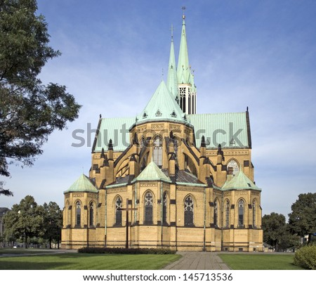 Roman Catholic Cathedral Basilica of St. Stanislaus Kostka in Lodz, Poland - stock photo