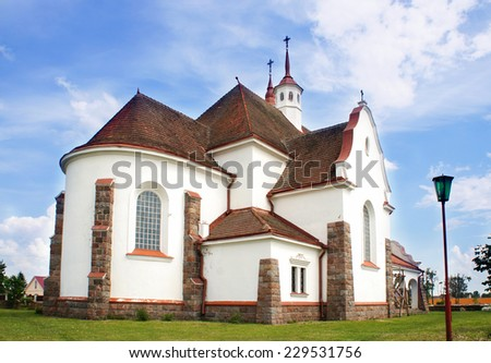 Roman Catholic Church of Our Lady Ruzhentsova in Soly, Belarus, village Radun (Voronovskii district, Grodno region), the date of construction of the church 1929, in pre-war Poland. - stock photo