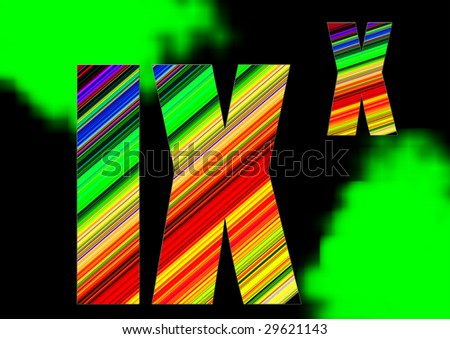 roman character with colorful lines