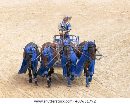 Roman chariot race show in Puy du Fou, France - October 2012