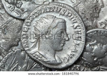 roman coin denarius of Gordianus - stock photo