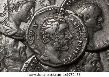 Roman coins, AR Denarius, Antoninus Pius 138 b.c., Rome - stock photo