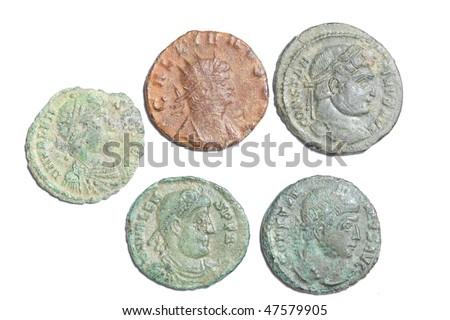 roman coins nummus - stock photo